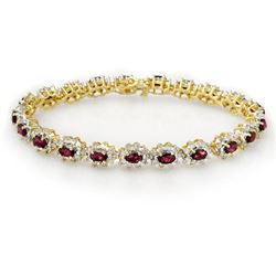 10.80 CTW Ruby & Diamond Bracelet 14K Yellow Gold - REF-345M5F - 13167