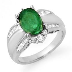 2.87 CTW Emerald & Diamond Ring 18K White Gold - REF-122R9K - 12940
