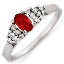0.50 CTW Red Sapphire & Diamond Ring 18K White Gold - REF-32Y8N - 10202