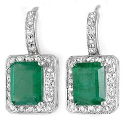 3.50 CTW Emerald & Diamond Earrings 18K White Gold - REF-87M8F - 10206