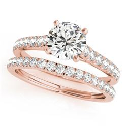 1.61 CTW Certified VS/SI Diamond Solitaire 2Pc Wedding Set 14K Rose Gold - REF-225W6H - 31701