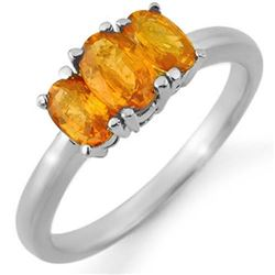 1.18 CTW Orange Sapphire Ring 18K White Gold - REF-37W5H - 10464