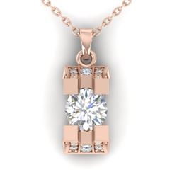 1.15 CTW Certified VS/SI Diamond Art Deco Stud Necklace 14K Rose Gold - REF-123N3Y - 30292