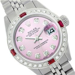 Rolex Men's Stainless Steel, QuickSet, Diam Dial & Diam/Ruby Bezel - REF-441H8W
