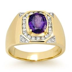 3.10 CTW Tanzanite & Diamond Mens Ring 14K Yellow Gold - REF-119F5M - 13480