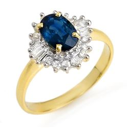 1.72 CTW Blue Sapphire & Diamond Ring 10K Yellow Gold - REF-44W5H - 12500