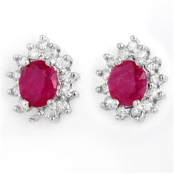 4.44 CTW Ruby & Diamond Earrings 14K White Gold - REF-71K3R - 13832