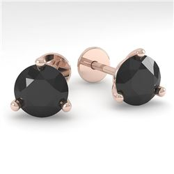 2.0 CTW Black Certified Diamond Stud Earrings Martini 18K Rose Gold - REF-68R2K - 32219
