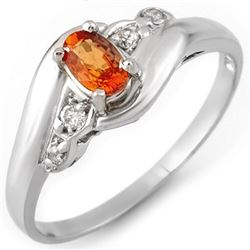0.42 CTW Orange Sapphire & Diamond Ring 18K White Gold - REF-30M8F - 10891
