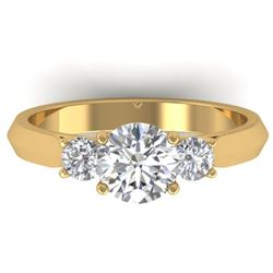 1.5 CTW Certified VS/SI Diamond Solitaire 3 Stone Ring 14K Yellow Gold - REF-395W5H - 30314