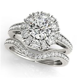 2.19 CTW Certified VS/SI Diamond 2Pc Wedding Set Solitaire Halo 14K White Gold - REF-276M2F - 31124