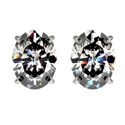 2.50 CTW Certified VS/SI Quality Oval Diamond Stud Earrings 10K White Gold - REF-663X2T - 33111
