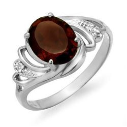 2.03 CTW Garnet & Diamond Ring 18K White Gold - REF-31R6K - 12662