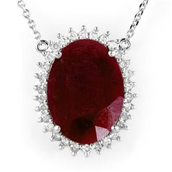 19.25 CTW Ruby & Diamond Necklace 18K White Gold - REF-232F2M - 14187
