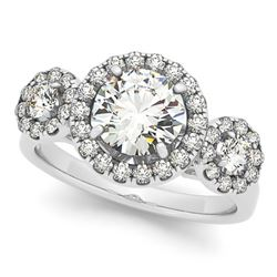 1.75 CTW Certified VS/SI Diamond Solitaire Halo Ring 18K White Gold - REF-416R2K - 26179