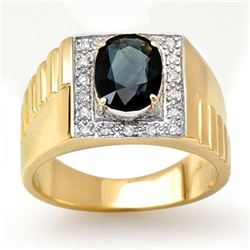 2.65 CTW Blue Sapphire & Diamond Mens Ring 10K Yellow Gold - REF-50X2T - 13485
