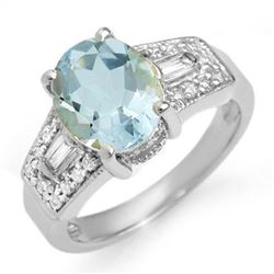 3.55 CTW Aquamarine & Diamond Ring 14K White Gold - REF-84F9M - 11700