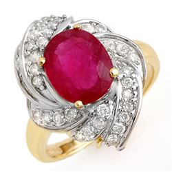 3.55 CTW Ruby & Diamond Ring 14K Yellow Gold - REF-74Y4N - 13224