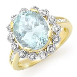5.33 CTW Aquamarine & Diamond Ring 10K Yellow Gold - REF-81T8X - 14503