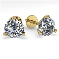 1.0 CTW Certified VS/SI Diamond Stud Earrings 18K Yellow Gold - REF-150F5M - 32200