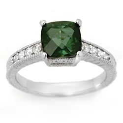 2.25 CTW Green Tourmaline & Diamond Ring 14K White Gold - REF-64H9W - 11769