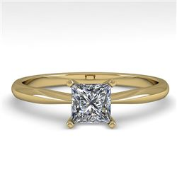 0.52 CTW Princess Cut VS/SI Diamond Engagement Designer Ring 18K Yellow Gold - REF-98W4H - 32392