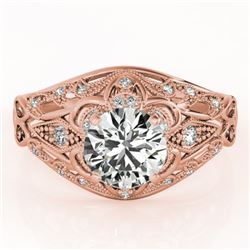 0.87 CTW Certified VS/SI Diamond Solitaire Antique Ring 18K Rose Gold - REF-145F3M - 27334