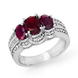 3.50 CTW Ruby & Diamond Ring 18K White Gold - REF-132T2X - 14395