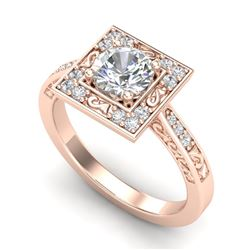 1.1 CTW VS/SI Diamond Art Deco Ring 18K Rose Gold - REF-180N2Y - 37266