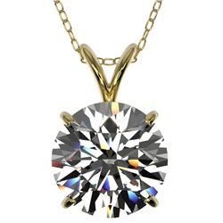 2.50 CTW Certified H-SI/I Quality Diamond Solitaire Necklace 10K Yellow Gold - REF-834K2R - 33242