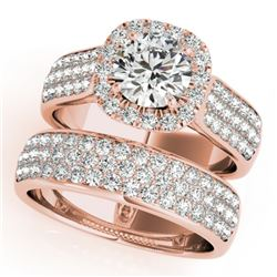 2.59 CTW Certified VS/SI Diamond 2Pc Wedding Set Solitaire Halo 14K Rose Gold - REF-475M5F - 31167