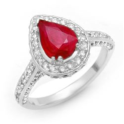 3.10 CTW Ruby & Diamond Ring 14K White Gold - REF-89K5R - 10702