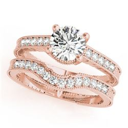 0.88 CTW Certified VS/SI Diamond Solitaire 2Pc Wedding Set Antique 14K Rose Gold - REF-140M5F - 3153