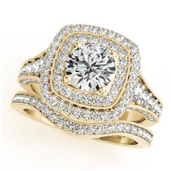 1.93 CTW Certified VS/SI Diamond 2Pc Wedding Set Solitaire Halo 14K Yellow Gold - REF-208W2H - 30911