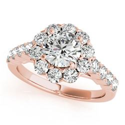 2.1 CTW Certified VS/SI Diamond Solitaire Halo Ring 18K Rose Gold - REF-262T9X - 26372