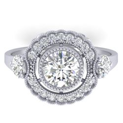 1.9 CTW Certified VS/SI Diamond Art Deco 3 Stone Ring 14K White Gold - REF-411H5W - 30546