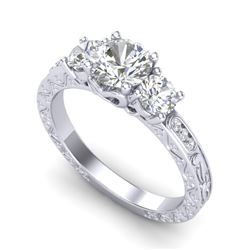 1.41 CTW VS/SI Diamond Solitaire Art Deco 3 Stone Ring 18K White Gold - REF-263H6W - 37007