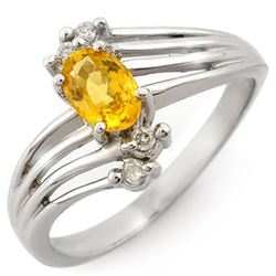 0.80 CTW Yellow Sapphire & Diamond Ring 18K White Gold - REF-41X5T - 10548