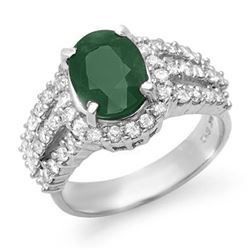 4.70 CTW Emerald & Diamond Ring 18K White Gold - REF-134H9W - 13295