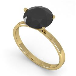 2.0 CTW Black Certified Diamond Engagement Ring Martini 18K Yellow Gold - REF-73F3M - 32251