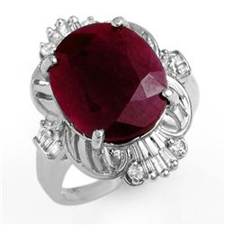 6.70 CTW Ruby & Diamond Ring 18K White Gold - REF-85X6T - 12725