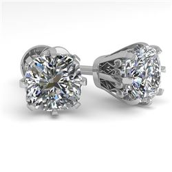 1.0 CTW VS/SI Cushion Cut Diamond Stud Solitaire Earrings 18K White Gold - REF-156H4W - 35676