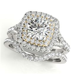1.82 CTW Certified VS/SI Diamond 2Pc Set Solitaire Halo 14K White & Yellow Gold - REF-408M5F - 30704