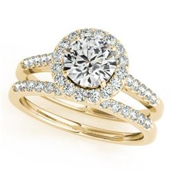 0.96 CTW Certified VS/SI Diamond 2Pc Wedding Set Solitaire Halo 14K Yellow Gold - REF-140N2Y - 30785