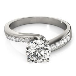0.91 CTW Certified VS/SI Diamond Bypass Solitaire Ring 18K White Gold - REF-190X8T - 27675