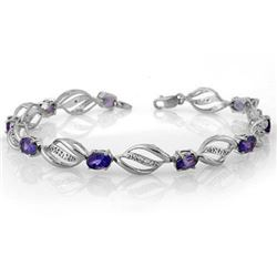 5.60 CTW Tanzanite & Diamond Bracelet 14K White Gold - REF-100T2X - 10496