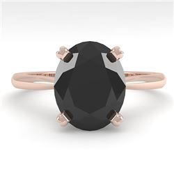 5.0 CTW Oval Black Diamond Engagement Designer Ring 14K Rose Gold - REF-123R8K - 38478