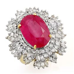 12.16 CTW Ruby & Diamond Ring 14K Yellow Gold - REF-363W3H - 12966