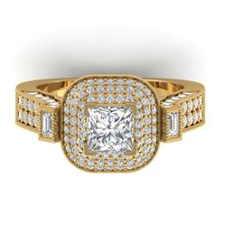 2.85 CTW Princess VS/SI Diamond Art Deco Micro Halo Ring 14K Yellow Gold - REF-555Y5N - 30446