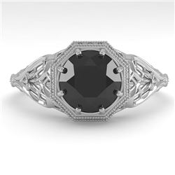 1.50 CTW Black Certified Diamond Engagement Ring Deco 18K White Gold - REF-67T3X - 36054